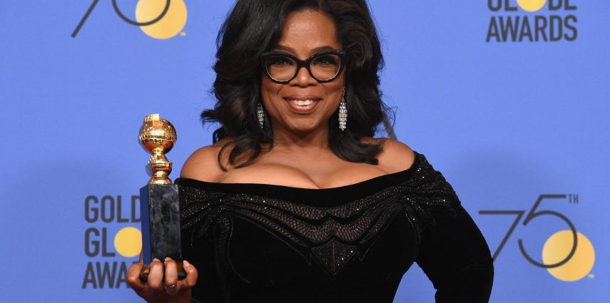 BEVERLY HILLS, CA - JANUARY 07:  75th ANNUAL GOLDEN GLOBE AWARDS -- Pictured: Oprah Winfrey, recipient of the Cecil B. DeMille Award, poses in the press room at the 75th Annual Golden Globe Awards held at the Beverly Hilton Hotel on January 7, 2018.  (Photo by Kevork Djansezian/NBC/NBCU Photo Bank via Getty Images)